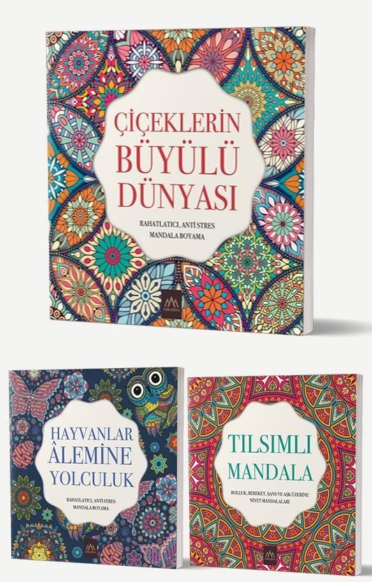 Mandala Büyükler İçin Boyama Seti - 3 Kitap